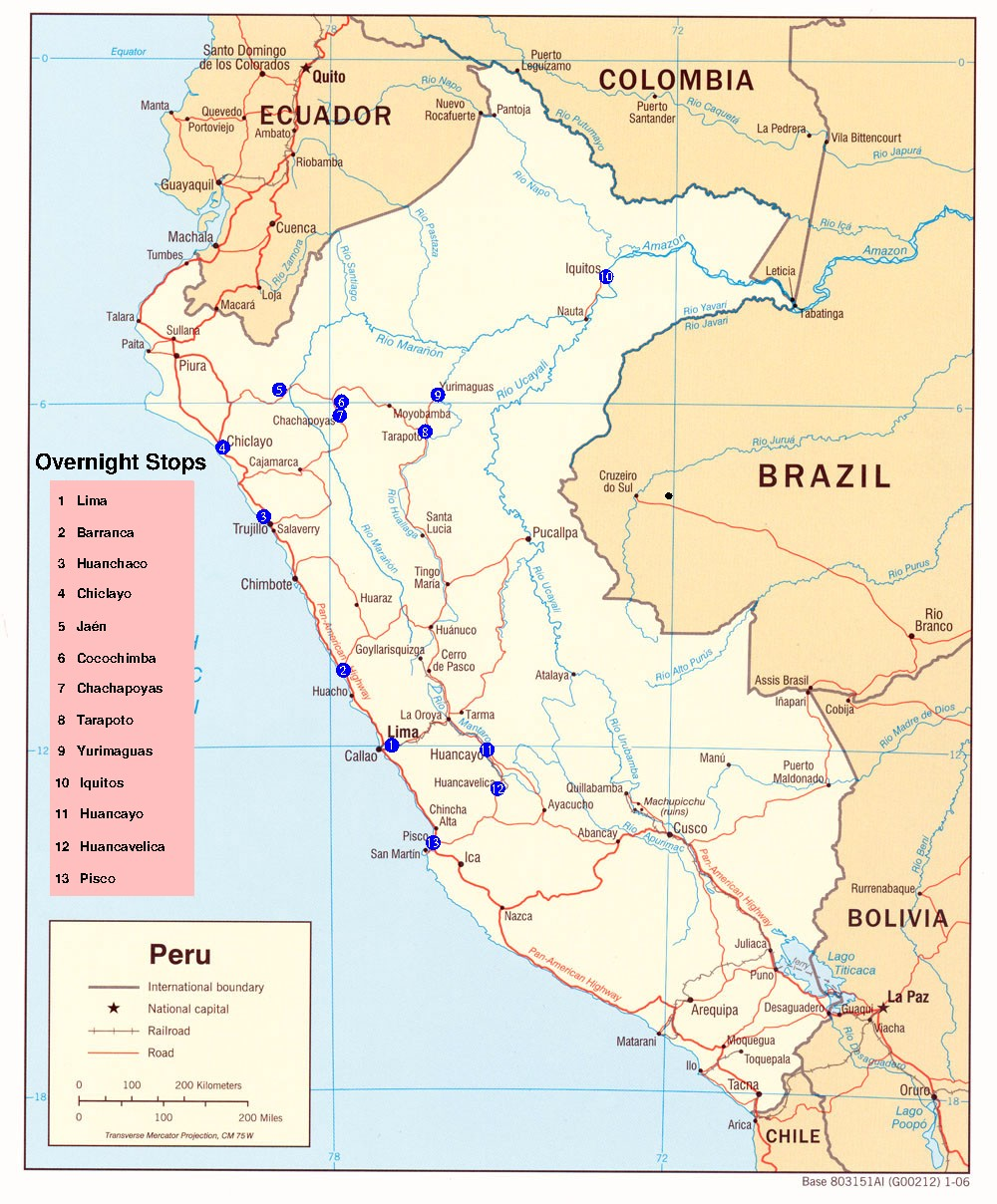 Maps of Peru Backpacking Tour